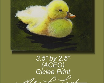 Baby Duck Melody Lea Lamb ACEO Giclee Print