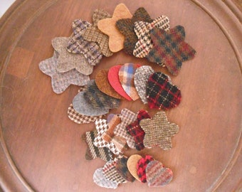 Pre-Cut Penny Rug Wool Hearts and Stars - Primitve Wool Embroidery- Candle Mat