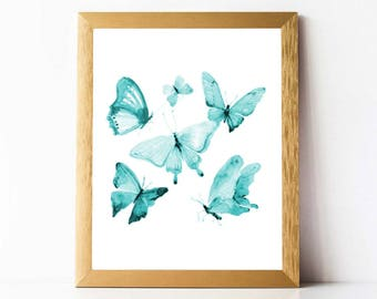 Watercolor Butterflies Print | Turquoise Butterfly Print PRINTABLE | Watercolour Butterfly Print Digital Download | Butterfly Wall Art