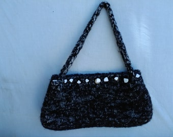 black and white handmade felted wool purse