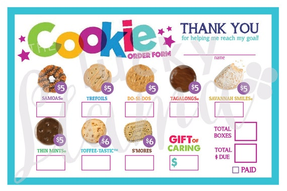 Items Similar To 2018 Girl Scout Cookie Order Form Printable On Etsy
