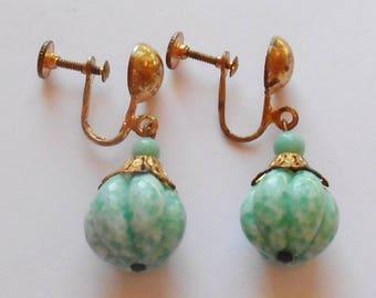 Vintage Green Peking Glass Art Glass Melon Shape Bead Gold Tone Earrings