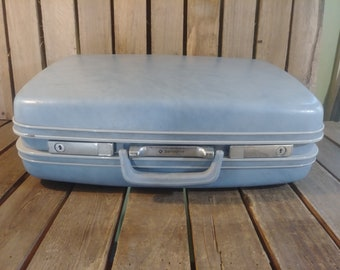 Blue Samsonite Suitcase, Old Wornout Distressed Suitcase