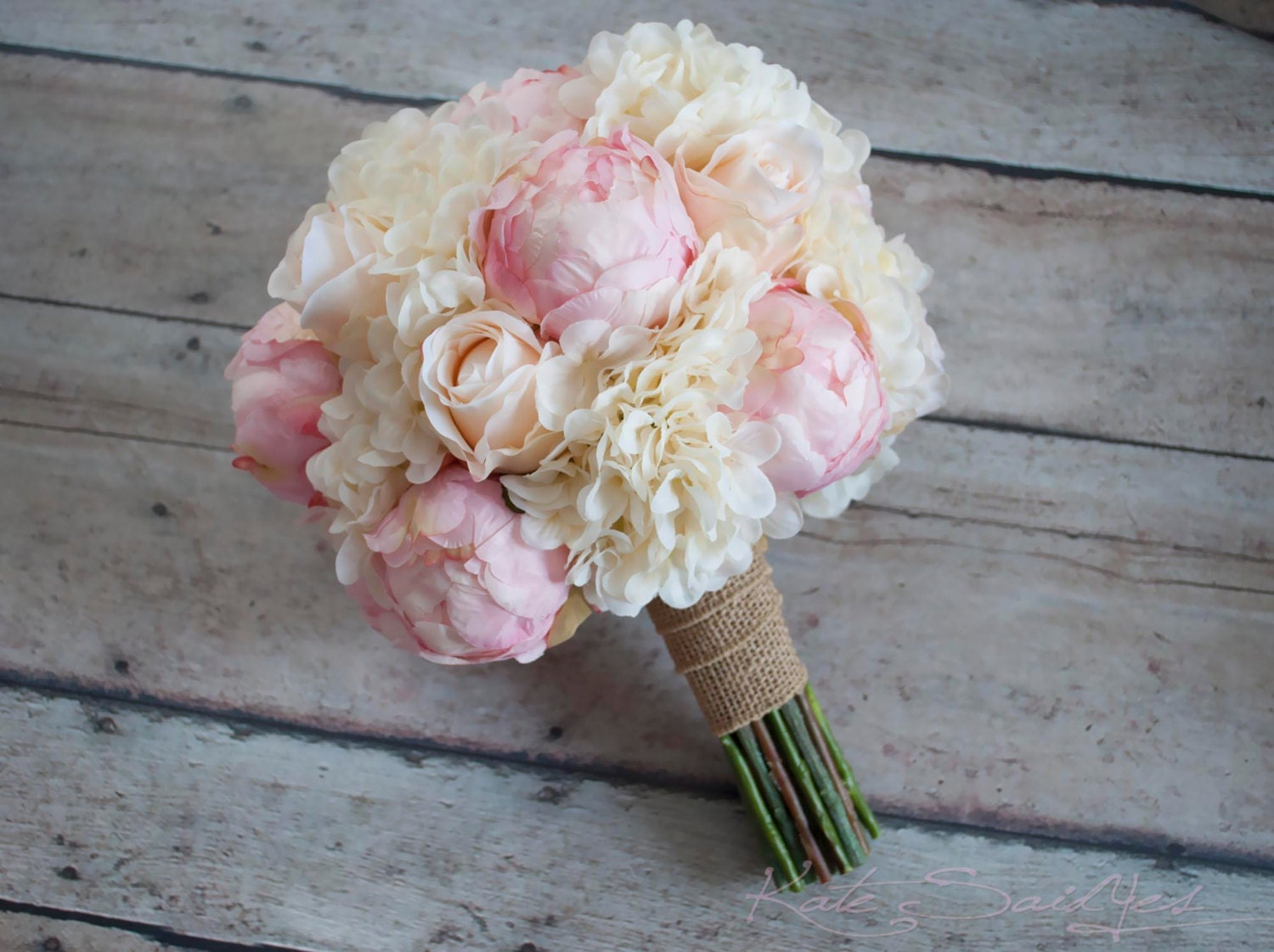Shabby chic wedding bouquet peony rose and hydrangea ivory zoom izmirmasajfo