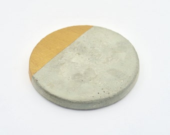 Set of 4 Gold dipped concrete cement coasters