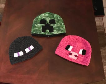 Crochet Minecraft Hats, Birthday Gift, Christmas Gift, fits head 14, 16, 18 and 20 inches