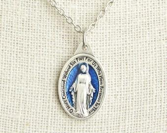 Cobalt Blue Miraculous Medal Necklace. Blue Miraculous Necklace. Catholic Necklace. Holy Mother Necklace. Catholic Medal Necklace.