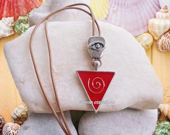 Evil Eye Amulet and Enamel Spiral Symbol Necklace Pendant