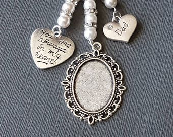 "Wedding Bouquet Photo Charm Oval Silver Locket with an ""always in my heart"" charm and ""dad"" charm with white pearls and an organza gift bag"