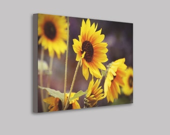 Bright Yellow and Orange Sunflowers Wrapped Canvas Print Wall Art, Big Sunflower Wall Art