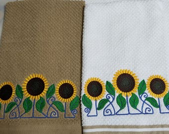 Lovely embroidered Sunflower towels