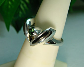 70% OFF Going Out of Business Sale.. Just The Two Of Us - Sterling Silver Ring with Genuine Tourmaline, Size 7