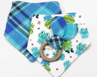 Toddler drool bib, toddler bandana, Baby bandanas and teething ring, bandana set, baby gift set, drool bibs, teething ring, baby bib set,