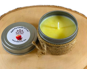 Apple Pie Scented Candle Soy Wax in Metal Tin Handmade For Bath, Aromatherapy and Gift Set 4 Oz