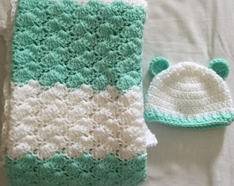 Crocheted Baby Blanket--travel/stroller/crib/car seat--light green/white with new born white/lt. green trim/ears