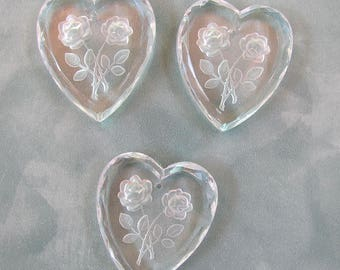 3 Machine Cut Beveled Heart Pendants with Intaglio Carved Roses 30X28mm