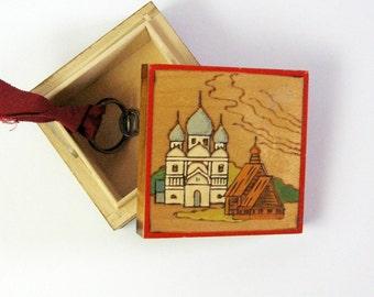 Vintage Wood Box - Small Jewelry Box - Russian Folk Art Decor - Painted Wood Box - Orthodox Art - Architecture Decor - Office Desk Organizer