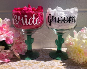 Cactus Margarita Glass - Personalized Margarita Glass - Tequila - Bride Glass - Groom Glass - Bride and Groom Margarita