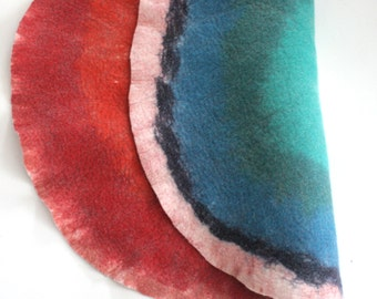 Two sided Art Mat / Felt Rug /  Wool Pad - Hand Felted Wool - Sun - Moon Circle - Crisp Contemporary Modern Scandinavian Ombre Design