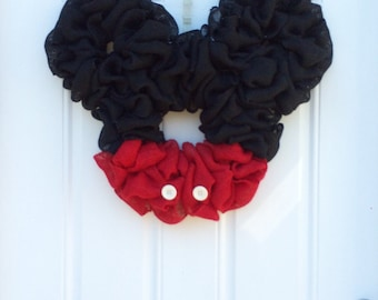Mickey Mouse Wreath; Shabby Chic Burlap Party Wreath; Disney Inspired Mickey Mouse Burlap Wreath; Countdown to Disney; Birthday Party Wreath