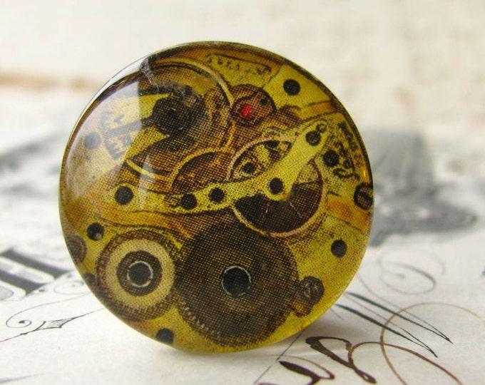 Steampunk watch movement, gears, brown, neutrals, handmade cabochon, glass art cab, photo glass, round 22mm, flat back image