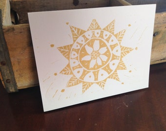 Gold Poinsettia Holiday Handmade Greeting Card