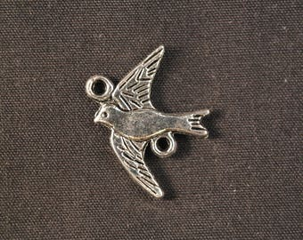 Silver bird connector charms