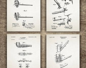 Tobacco Patent Print - Set of 4 Designs, Smoking Pipe Print, Smoking Pipe Poster, Tobacco Poster, Tobacco Print, Set of 4 - INSTANT DOWNLOAD