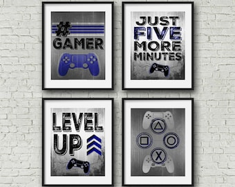 Gallery Wall - 8x10 Square -Playstation Controller - Gamer - Teen boy bedroom - game room wall art - gamer posters - video game posters