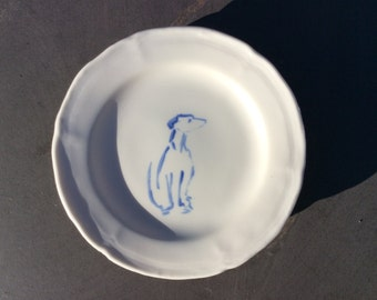 Handmade Ceramic Small Plate with Hand Painted Whippet Illustration