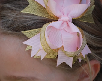 Birthday Hair bow - Pink and gold bow - Birthday Hair Clip - Birthday Accessory - Birthday Collection - Pink and gold bow - 1st Birthday bow