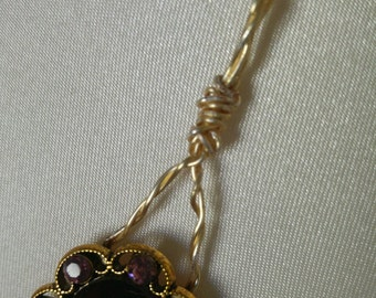 CRANBERRY NECKLACE in a Gold Filigree Setting w small Cranberry Stones surrounding large Cranberry Stone,Pendant on Petite Gold Plated Chain