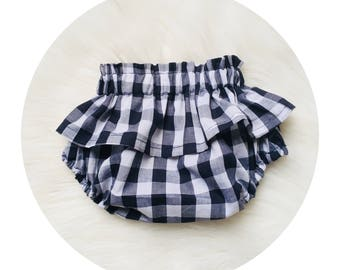 Navy Blue gingham ruffle bloomers