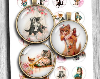 """Anthropomorphic cats 1"""" 20mm 25mm 1.5"""" Bottlecap images Pendant images Vintage Cute Cats Printable Digital Collage Sheet Instant Download"""