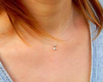 Swarovski crystal sterling silver necklace charm, pendant pear shaped Swarovski pear pendant, crystal silver shade tear pendant gift 061