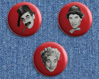The Marx Brothers heads 1 1/2 inch pin back button
