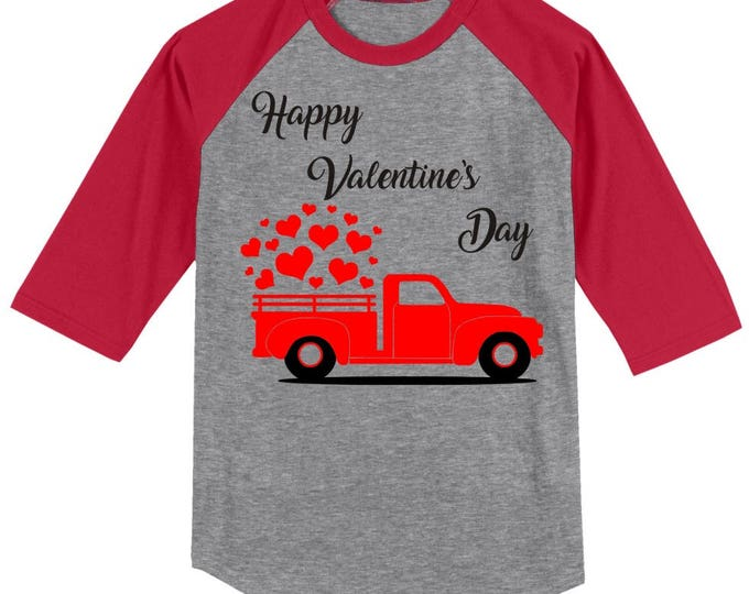 Vintage Antique red truck Happy Valentines Day T shirt Raglan - 3/4 sleeves baseball style shirt - several sizes and colors available
