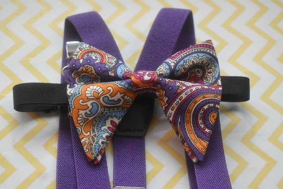 Purple paisley butterfly / poppy Bow Tie  for Baby, Toddler and Boys (Kids Bow Ties) with Braces / Suspenders for wedding, birthday