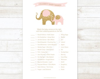 pink and gold celebrity baby names baby girl shower matching game card elephant pink and gold baby shower digital games - INSTANT DOWNLOAD