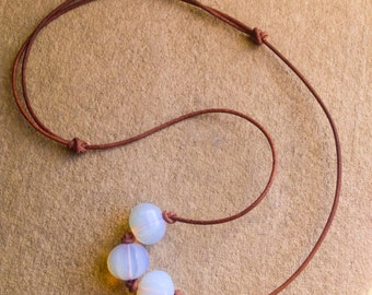 Opalite Necklace, Greek Leather Necklace,  Adjustable Necklace,  Minimalist Jewelry