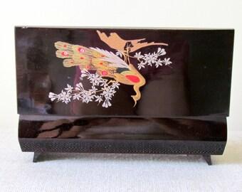 Vintage Hand Painted Japanese Jewelry Music Box by Sankyo, Japan