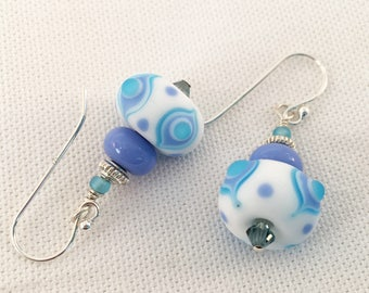 SRA made Glass Lampwork bead earrings, sterling silver, periwinkle blue, white, turquoise, etched glass