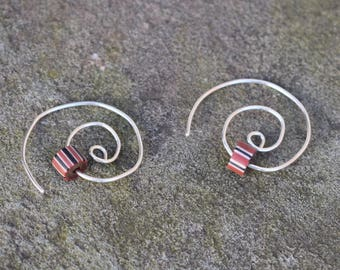 Spiral Hoop Trade Beads & Amber (Sterling Silver)