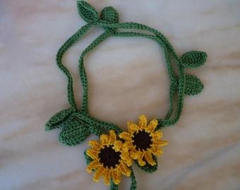 Sunflower crochet flower scarf necklace