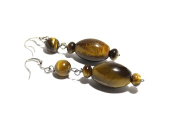 Tiger Eye Stone Earrings,Women, Teen, Brown, Ready To Ship, Stainless Steel,