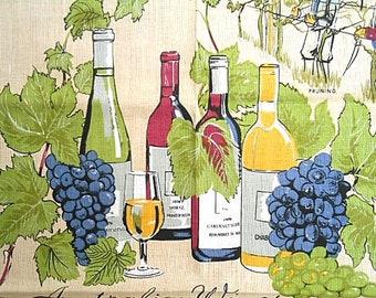 Vintage Tea Towel ~ Australian Wines ~ Grevillea Winery NSW Australia