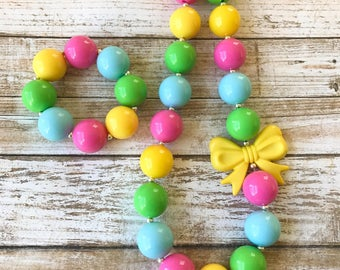 Spring Chunky Necklace, Yellow Bow Charm, Easter Necklace, Kids Spring Jewelry, Girl Toddler Chunky Bubblegum, Bubblegum Necklaces