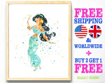 Disney Aladdin Princess Jasmine Watercolor Art Print Poster - Home Decor - Wall Art - Kids Decor - Nursery Decor - Christmas Gifts - 48
