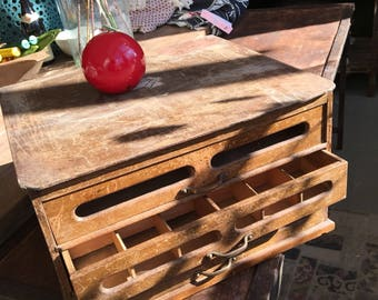 Beautiful old wooden antique box with different drawers very nice