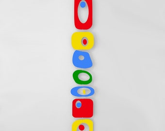 Red Yellow Blue BEATNIK PARTY Retro Hanging Art Mobile * Mid Century Modern Home Decor * 1970s * Kinetic Sculpture * Wind Chimes * Gift Idea